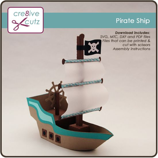 aargh matey sail the high seas with this 3d pirate ship decoration made from paper complete. Black Bedroom Furniture Sets. Home Design Ideas