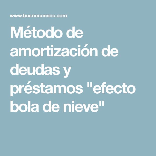 Metodo De Amortizacion De Deudas Y Prestamos Efecto Bola De Nieve Prestamos Amortizacion Educacion Financiera
