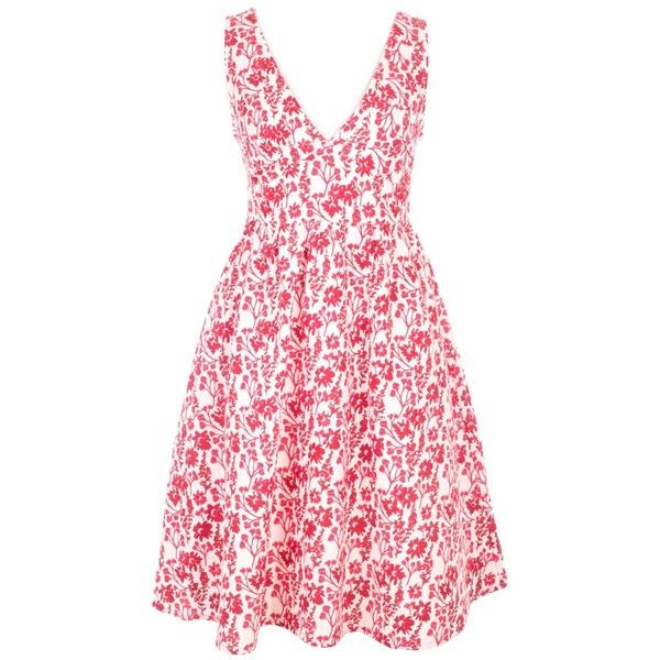 Mata Traders Fairtrade Floral V Neck Sun Dress (135 BRL) ❤ liked on Polyvore featuring dresses, pink dress, cotton dresses, pink v neck dress, floral sundress and cotton sundresses