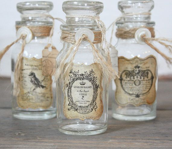 Country homes decor. Rustic French Inspired Vintage Bottle   Spice jars  Home decor and