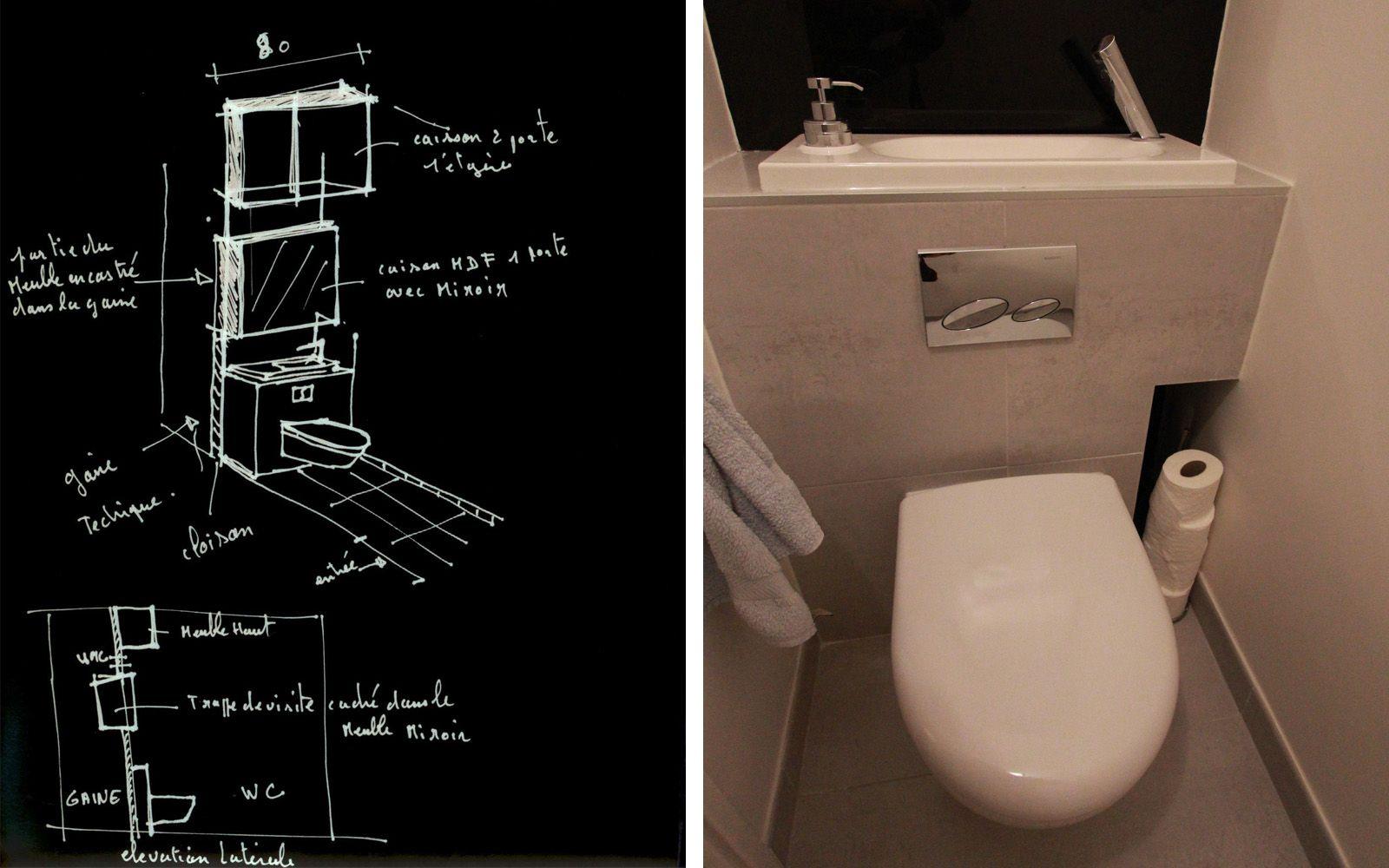 Toilette Gain De Place laves-mains sur wc suspendus - les bains & cuisines d