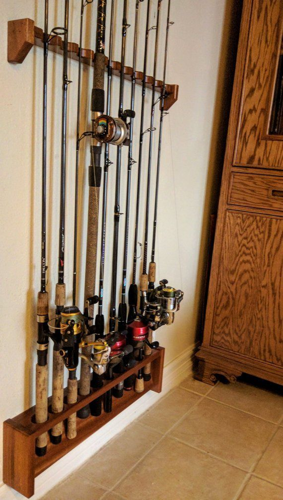 Fishing Pole Rack, Wall Mount Tackle Holder, Gift for