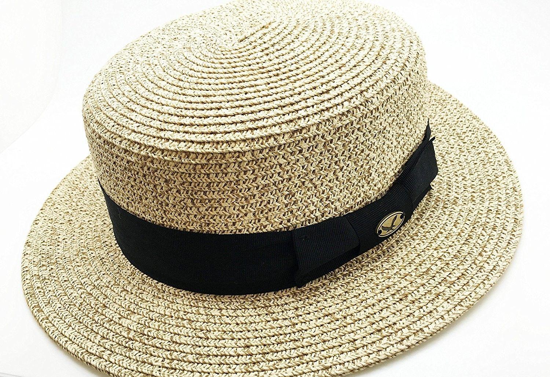 64f7a59b677 Men s Summer Boater Straw Pork Pie Derby Fedora Flat Top Gambler Hat  Natural - C312FFMR4M1 -