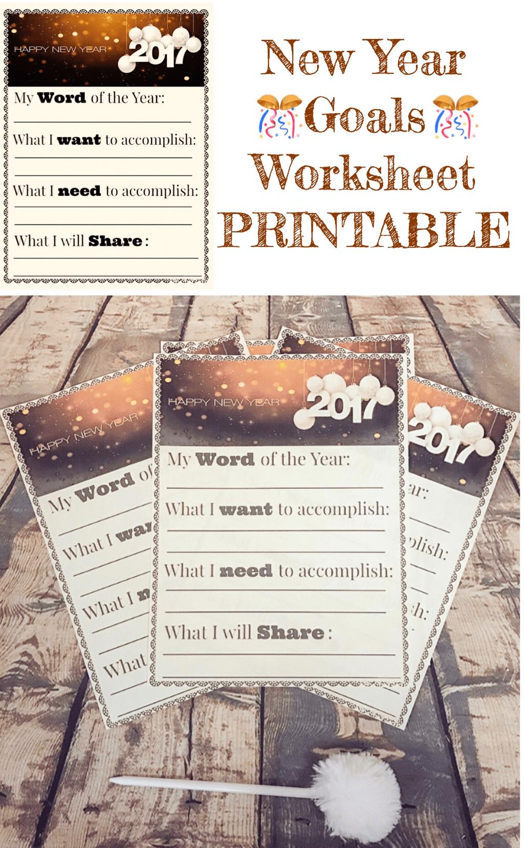 New Year Goals Worksheet Free Printable