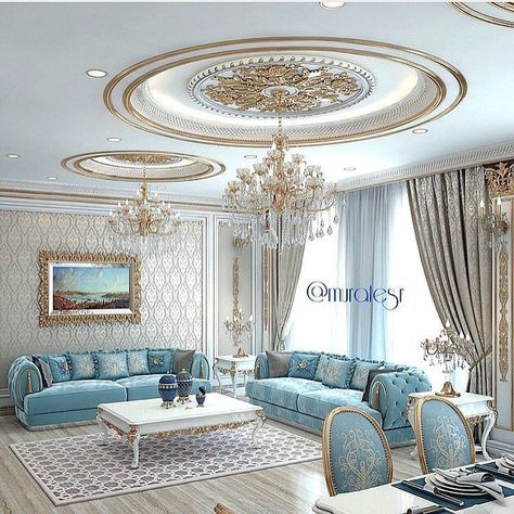 Quite An Elegant Sitting Room With Light Blue And Gold Very
