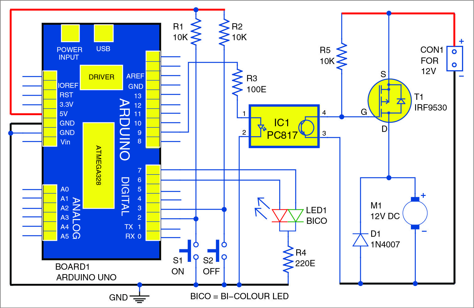Here we describe an electronic DC motor starter using Arduino Uno. This  circuit controls both soft-start and soft-stop timings through PWM.