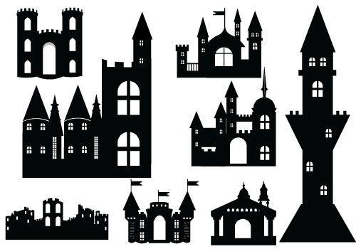 Castle Silhouette Vector Definition Of Medieval Vectors Castle Silhouette Silhouette Clip Art Silhouette Vector