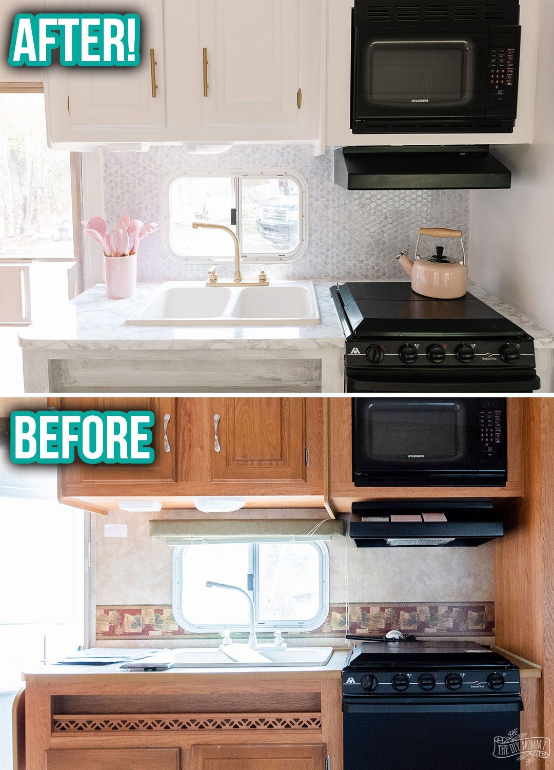Kitchen Counter Area Makeover With Peel Stick Tile Counter And Spray Paint Our Diy Camper 2 0 The Diy Mommy Stick On Tiles Peel And Stick Tile Contact Paper Countertop