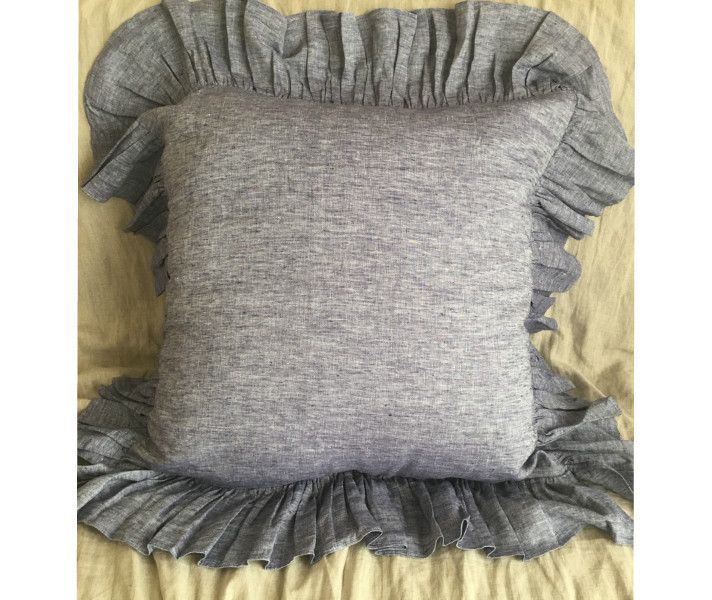 """Linen Sham With 5"""" Ruffle - Pick Color"""