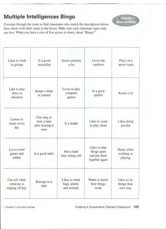 photograph regarding Printable Multiple Intelligence Test titled Numerous Intelligence Bingo. Locate somebody who Instruction