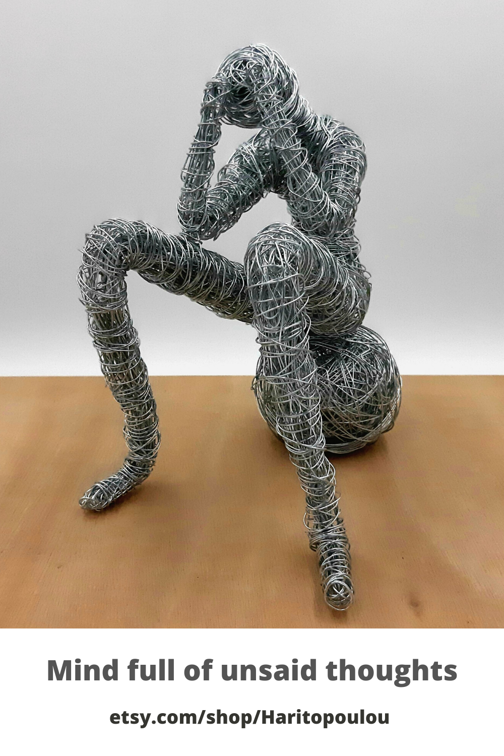 Living room decorating idea, Thinking Man Wire Sculpture ...