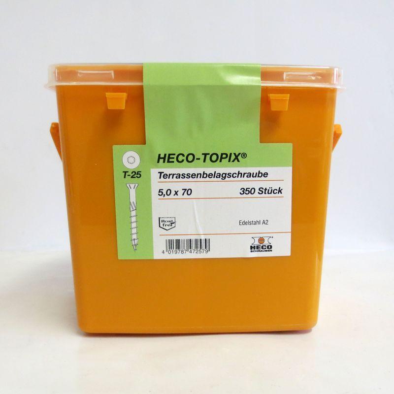 Vis terrasse HECO-Topix Inox A2 – 5 x 70 et 5 x 60 filetage partiel – boîte 350 vis | 1 seau de 350 vis – 5 x 70 mm – HECO SCHRAUBEN