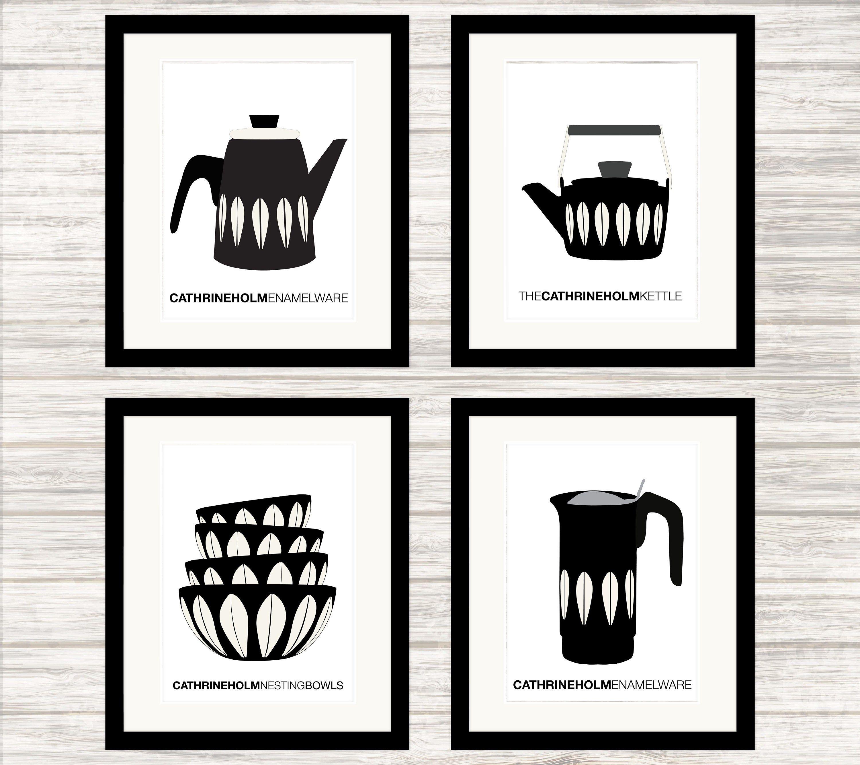 Cathrineholm Enamelware Poster Set In Black Lotus Pattern