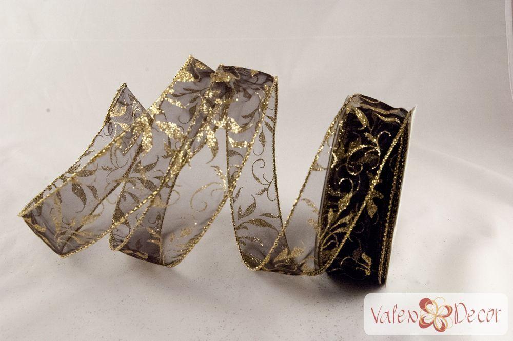Karácsonyi organza szalag - fekete, arany indás - 38mm x 9,1m - Valex Decor Kft.   Virágkötészeti kellékek és dekorációk webáruháza