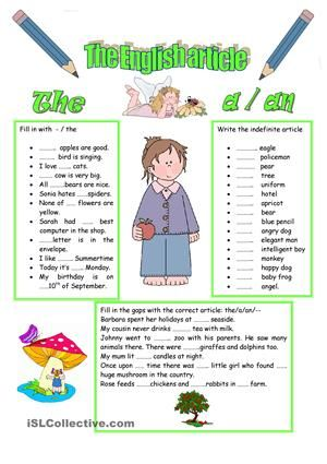 I Think It S An Easy Sheet To Revise The Definite And Indefinite Articles Esl W English Articles Definite And Indefinite Articles English Grammar Worksheets