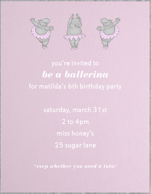 Ballet Hippo by Paperless Post Online invitations for kids