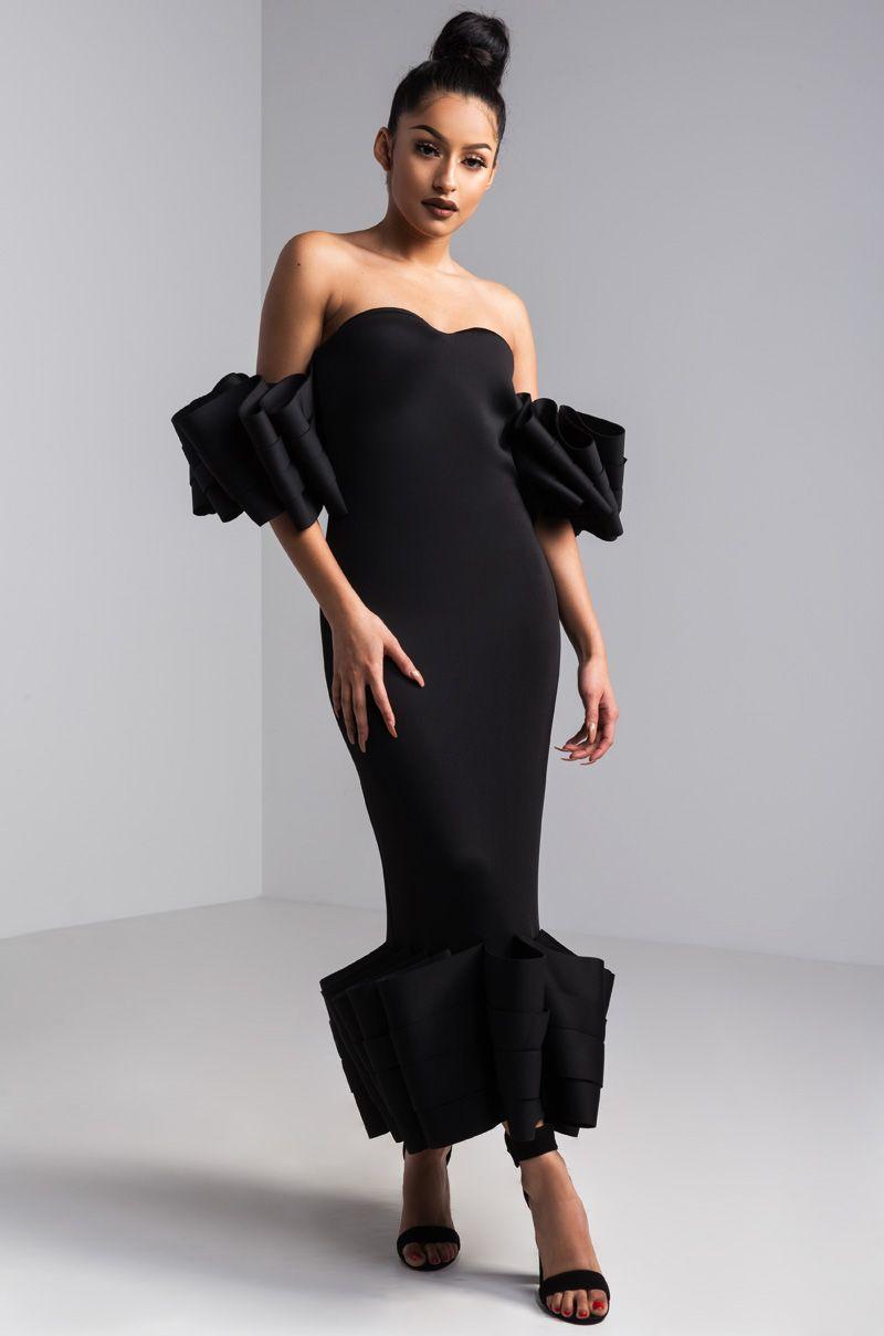 f8f045da42 AKIRA Off Shoulder Ruffle Sleeve Ruffle Hem Bodycon Scuba Neoprene Midi  Dress in Black