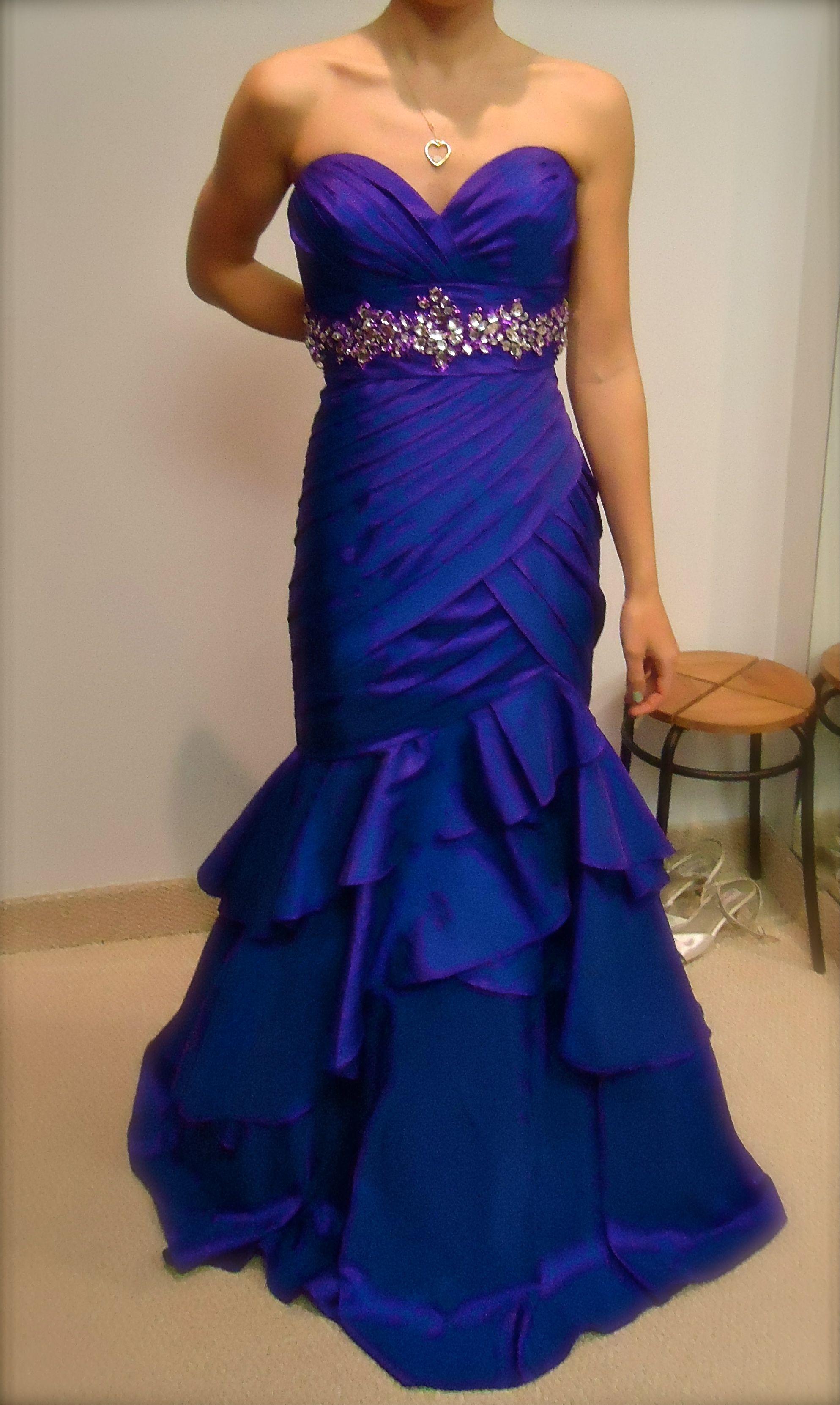 Purpleblue prom dress with beaded belt fashion costumes
