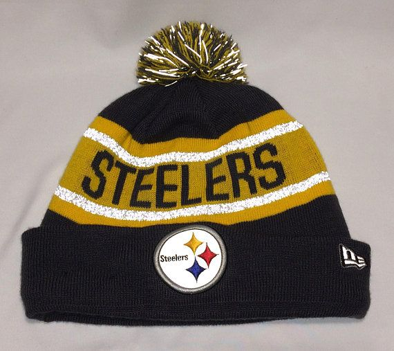 d02e47696 Vintage New Era Pittsburgh Steelers Pom Pom Beanie Hat Skull Cap ...