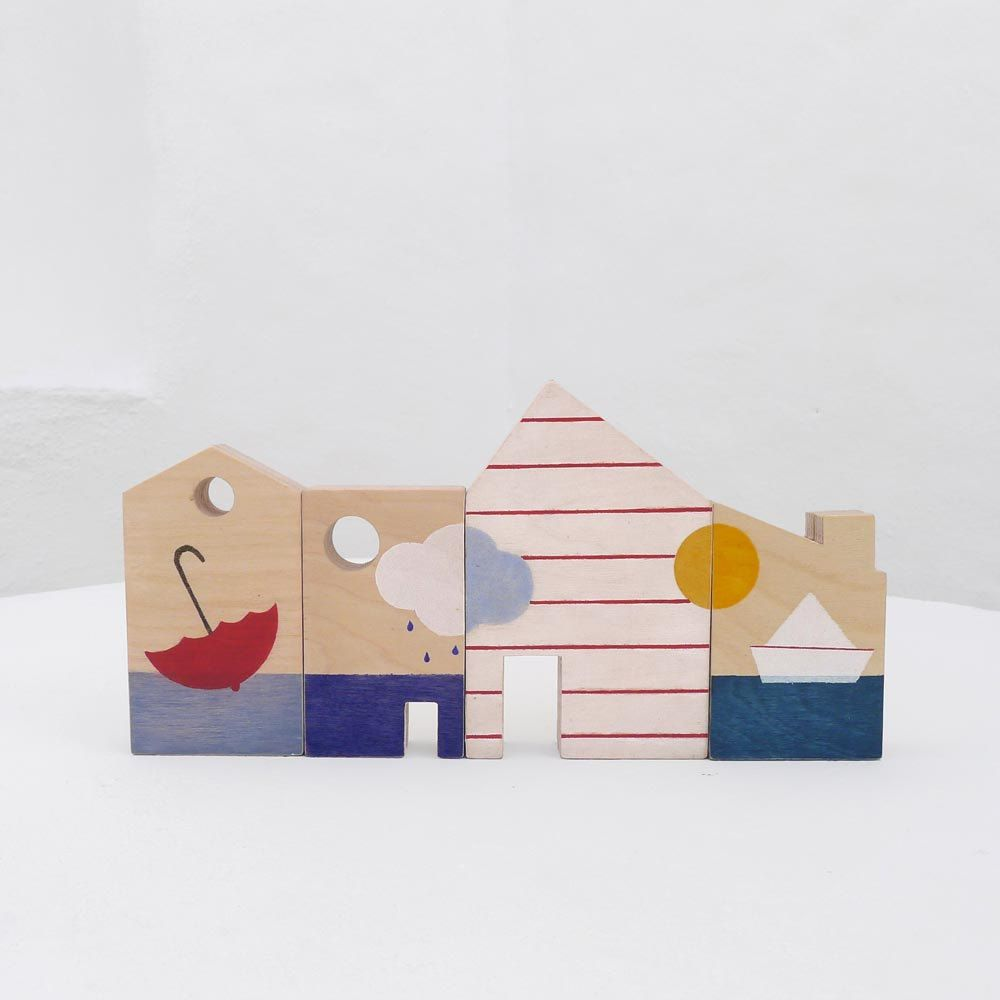 Wooden toy, eco-friendly hand-made toy, wooden blocks, kids toy, little houses stories .. €40.00, via Etsy.