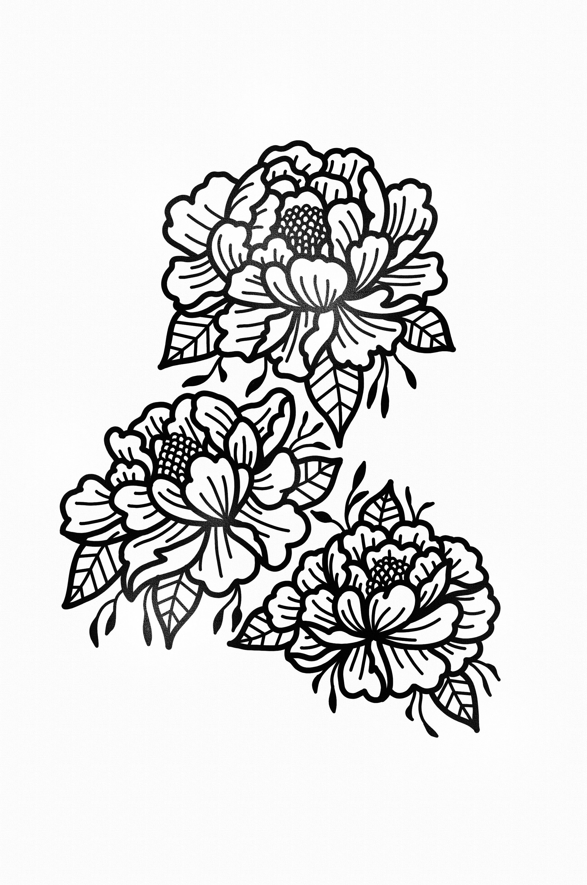 Stanley duke tattoo design flowers art tattooist graphic for Tattoo line work