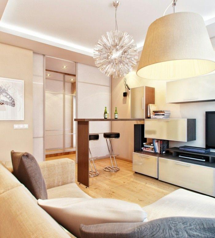 wanddesign ideen wohnzimmer einrichten beige wände Wandgestaltung