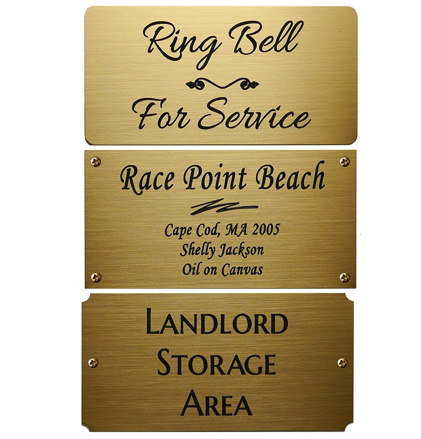 Size: 4\'W x 2\'H, Personalized, Custom Engraved, Brushed Gold Solid ...