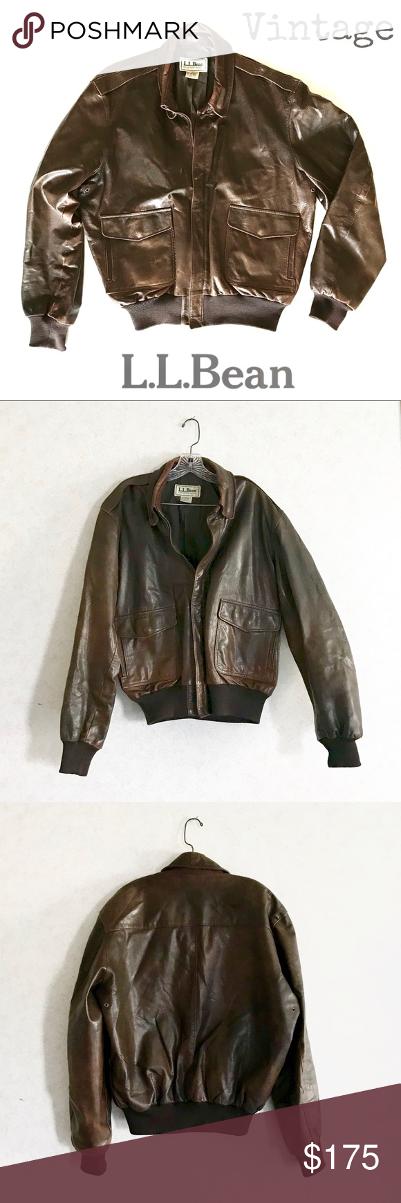 Vintage L L Bean Men S Leather Bomber Jacket Bomber Jacket Vintage Leather Bomber Jacket Mens Leather Bomber Jacket