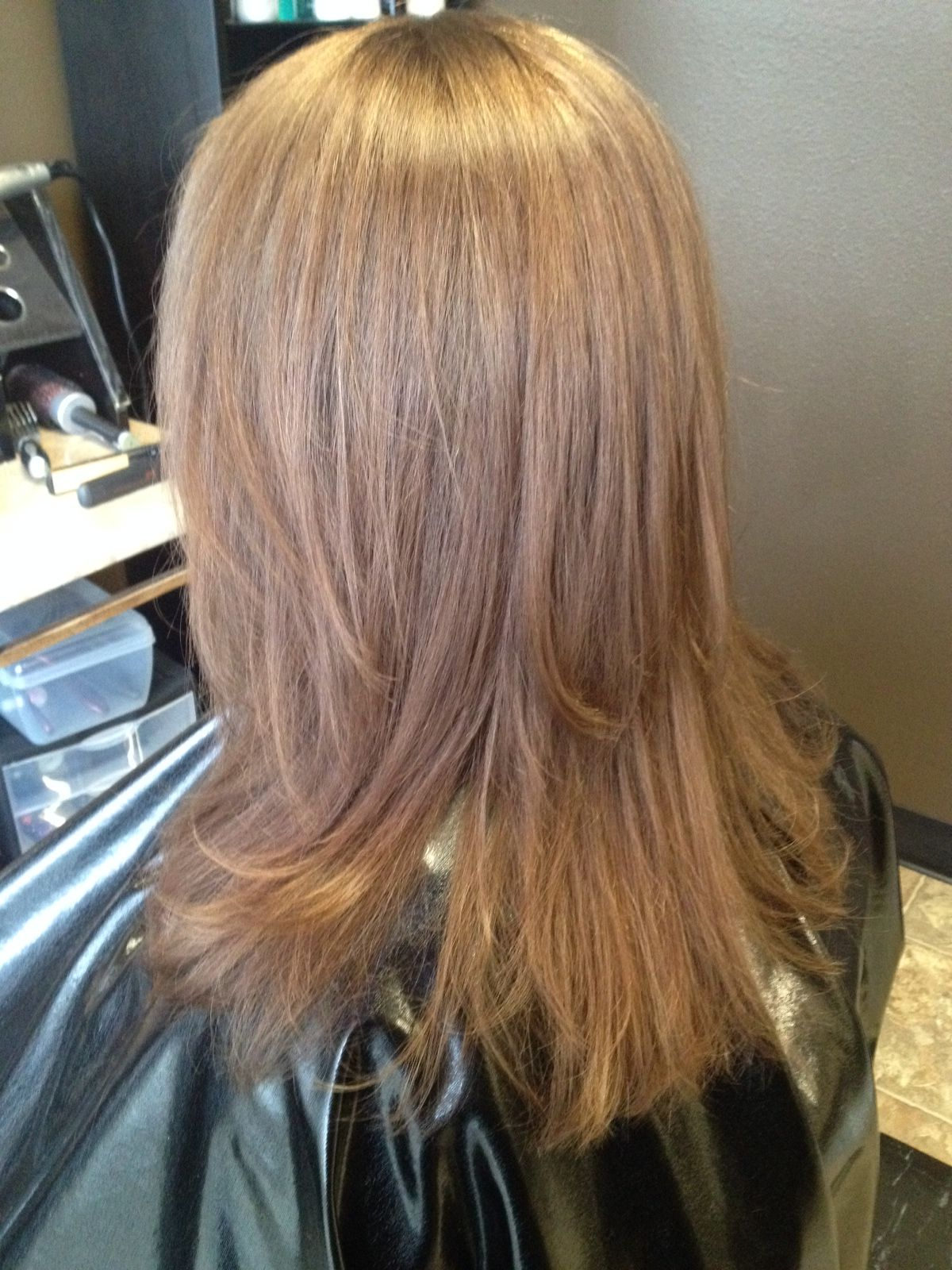 Light Warm Brown Hair Color Back To Her Natural Color Layered