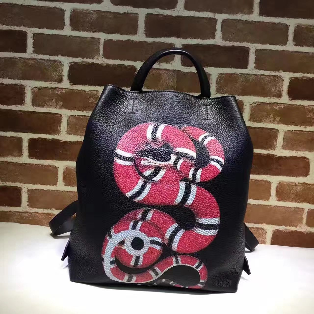 5c93661db252 Gucci Snake Print Leather Backpack 451000 Black 2016