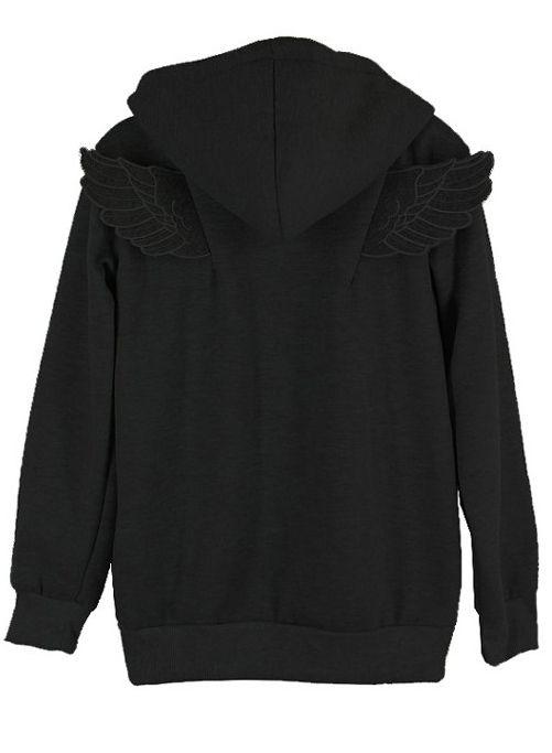 Black Long Sleeve Angle Wings Pocket Zip Jacket US$25.74