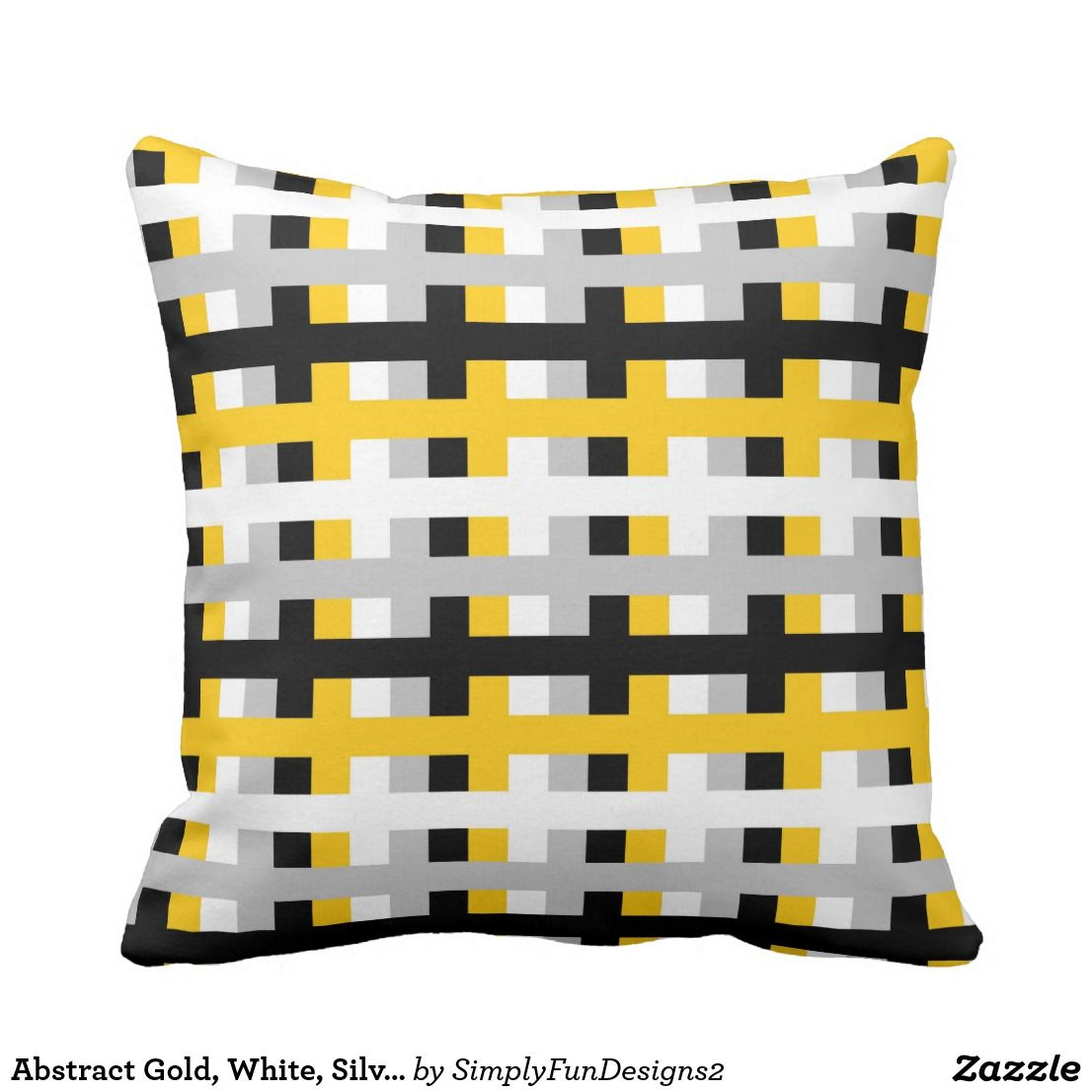 Abstract gold white silver and black throw pillow black throws