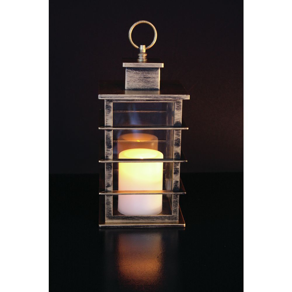 Mission lantern with timer candle bronze