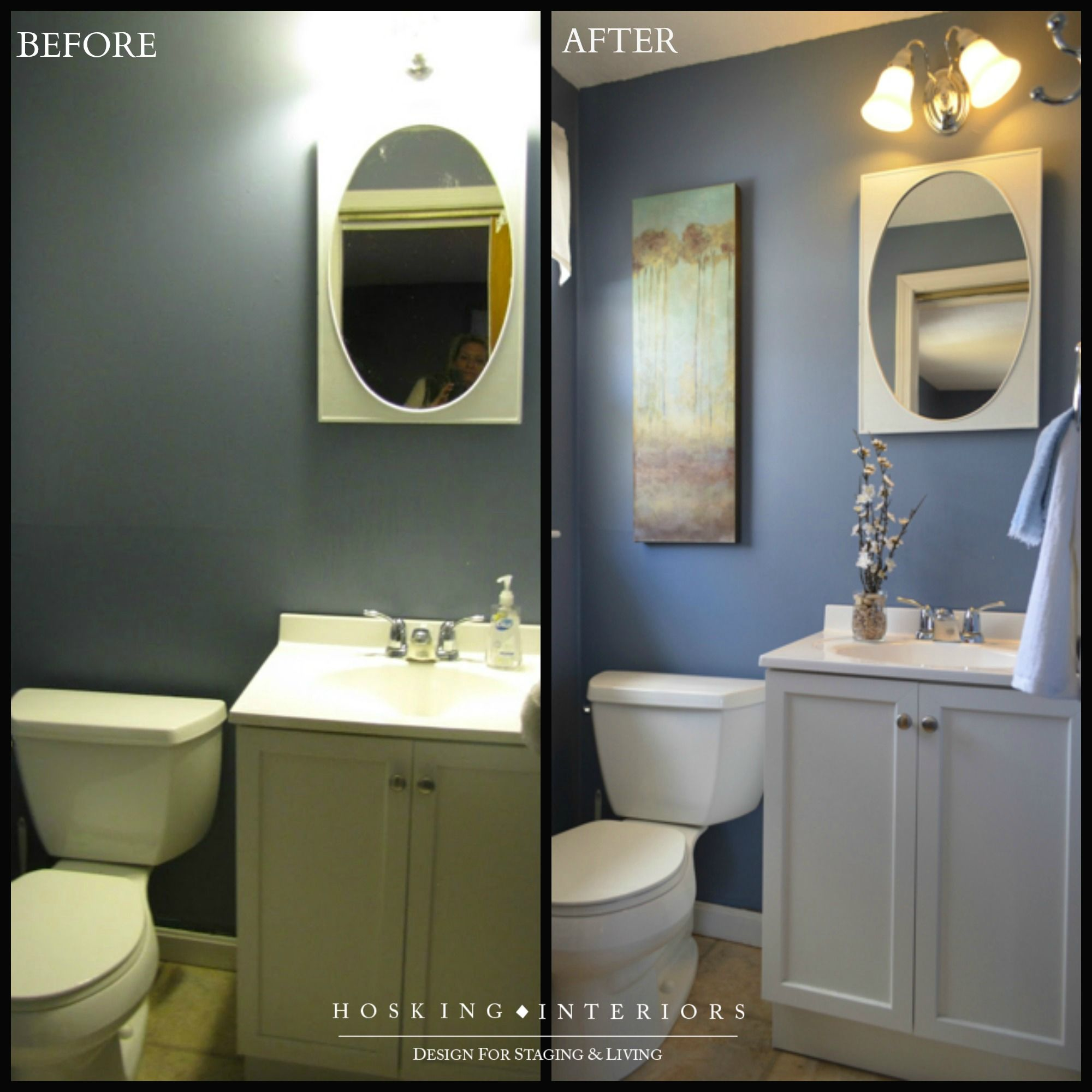A Small Bathroom Before And After Staging.
