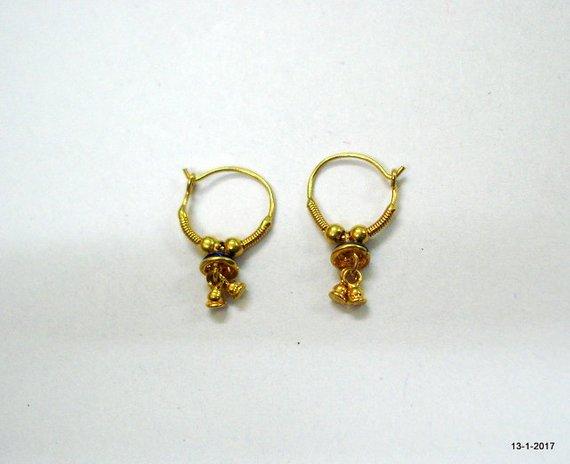 Traditional Design 18kt Gold Earrings Hoop Upper Ear Infant
