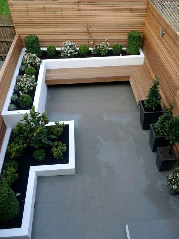 Madera, hormigón alisado, canteros de cemento Diseño de jardin - diseo de exteriores