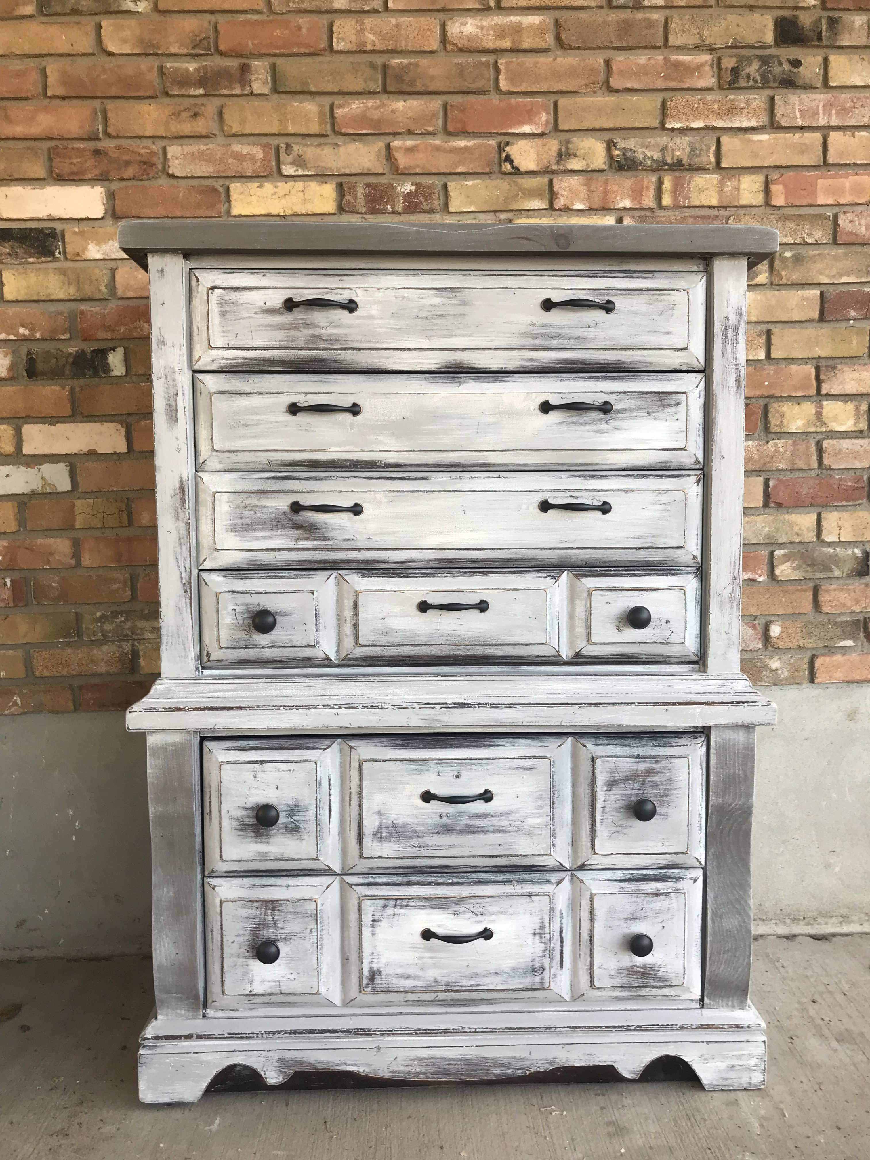Dry Brushed Rustic Dresser Finished In Annie Sloan Chalk Paint In Pure White With Paris Grey