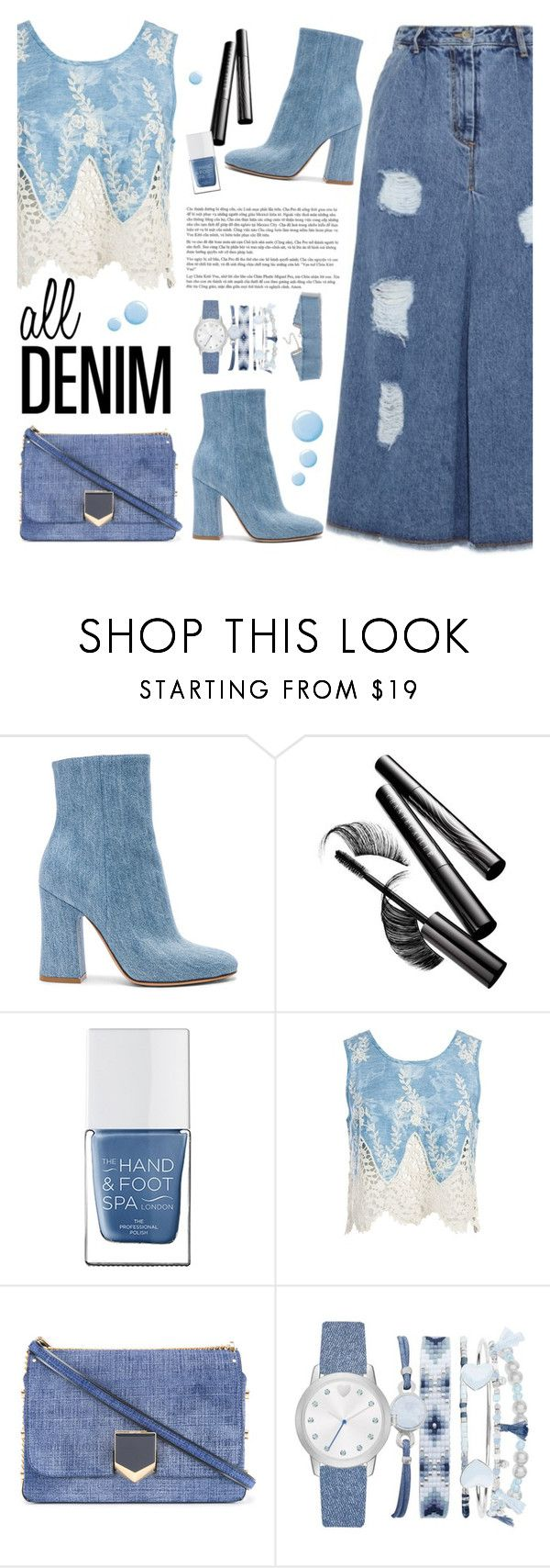 """""""All Denim, Head to Toe"""" by tamara-p ❤ liked on Polyvore featuring Gianvito Rossi, Chantecaille, The Hand & Foot Spa, Sans Souci, Jimmy Choo, A.X.N.Y., Topshop and alldenim"""