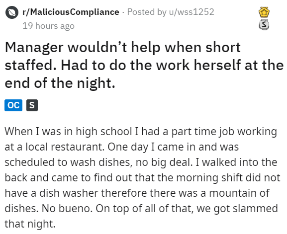 Dishwasher Invokes Minor Law To Make Lazy Manager Do Her Part Manager Humor Tumblr Funny Funny Stories