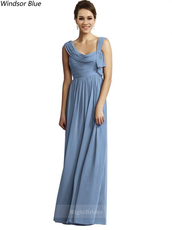 A-Line/Princess 2018 Long Chiffon Windsor Blue Bridesmaid Dresses ...