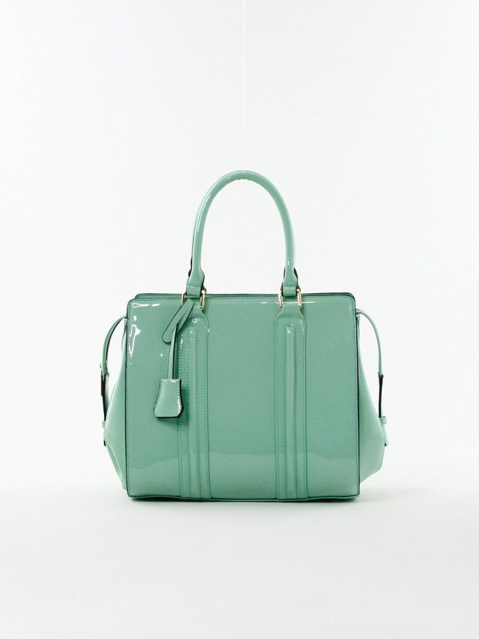 Solid Patent Tote in Mint