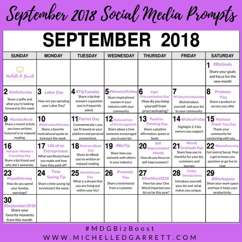 September Social Media Prompts Divas With A Purpose Social Media Schedule Social Media Planner Social Media