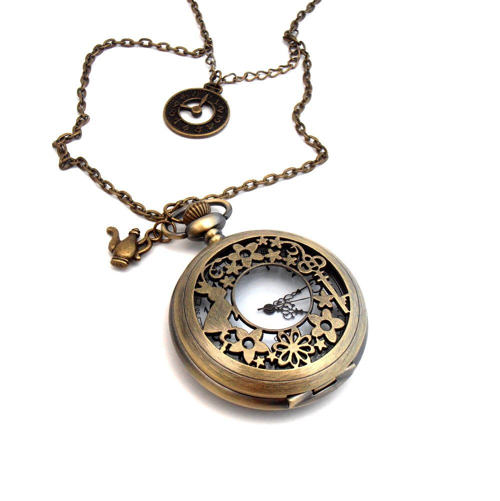 by velvet gear watch with necklaces industrial clock fullxfull vintage brass steampunk mechanism il necklace