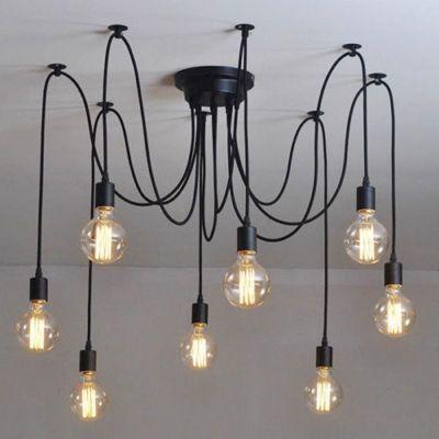 Simple 8 light edison bulb black led multi light pendant multi simple 8 light edison bulb black led multi light pendant aloadofball Images