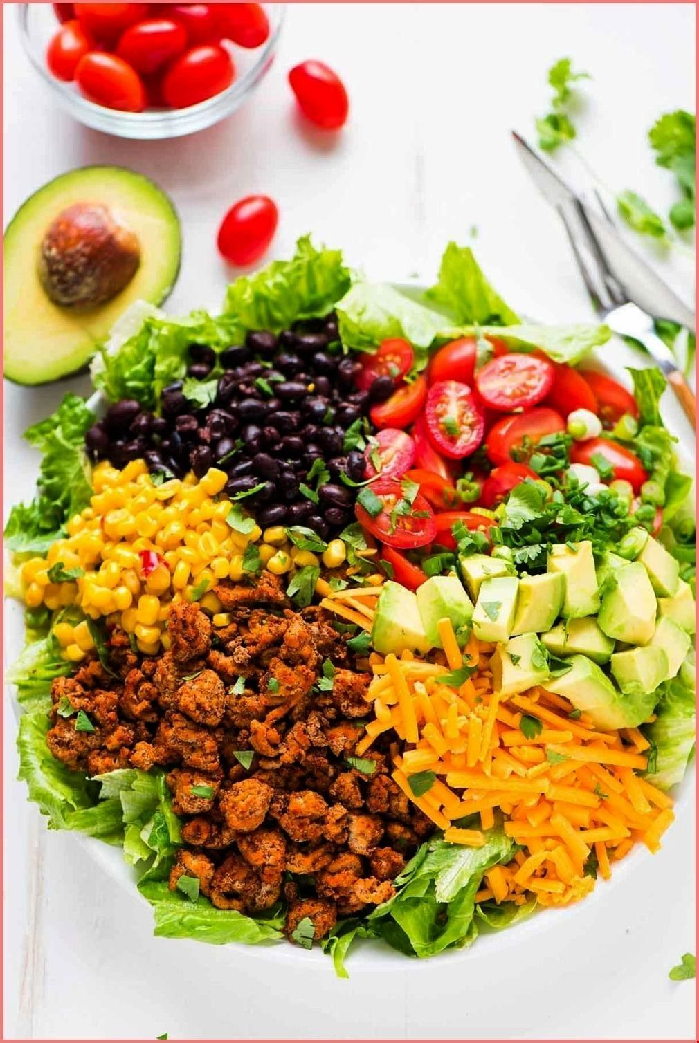 Skinny Taco Salad with ground turkey black beans cheese and crunchy  baked - - Easy Skinny Taco Sal