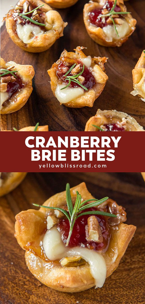Cranberry Brie Bites (Holiday Appetizer) | YellowBlissRoad.com