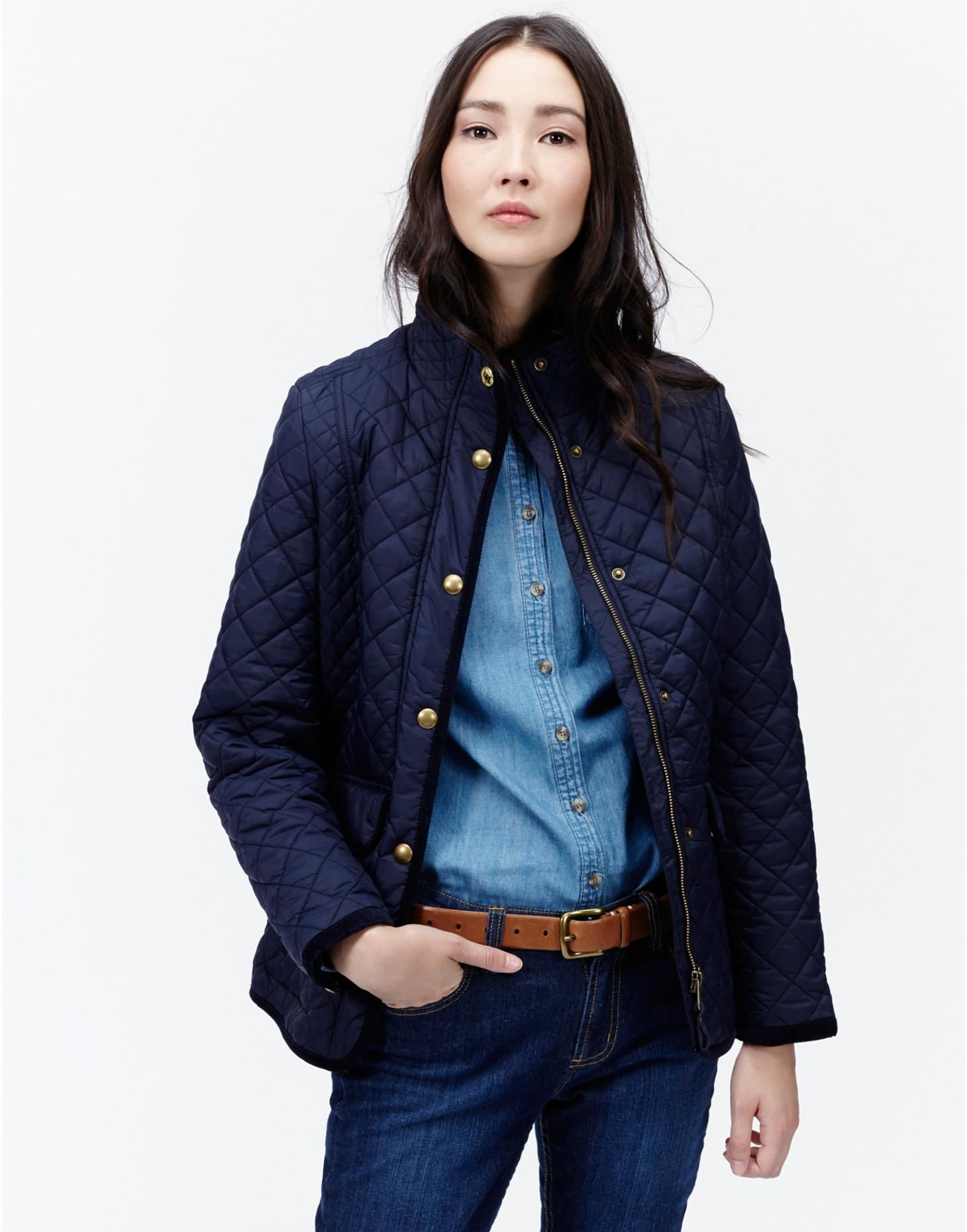 Marine Navy Newdale Womens Classic Quilted Jacket | Joules UK ...