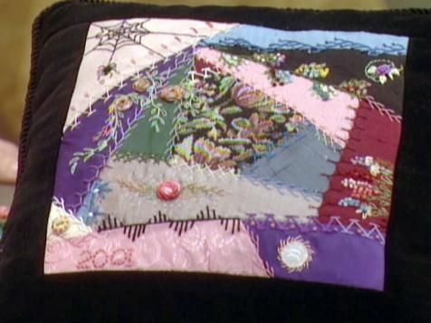 This Victorian crazy-quilt technique can be adapted to many home-decor accessories. When creating crazy quilts, the key is imperfect shapes of many colors and textures joined together.