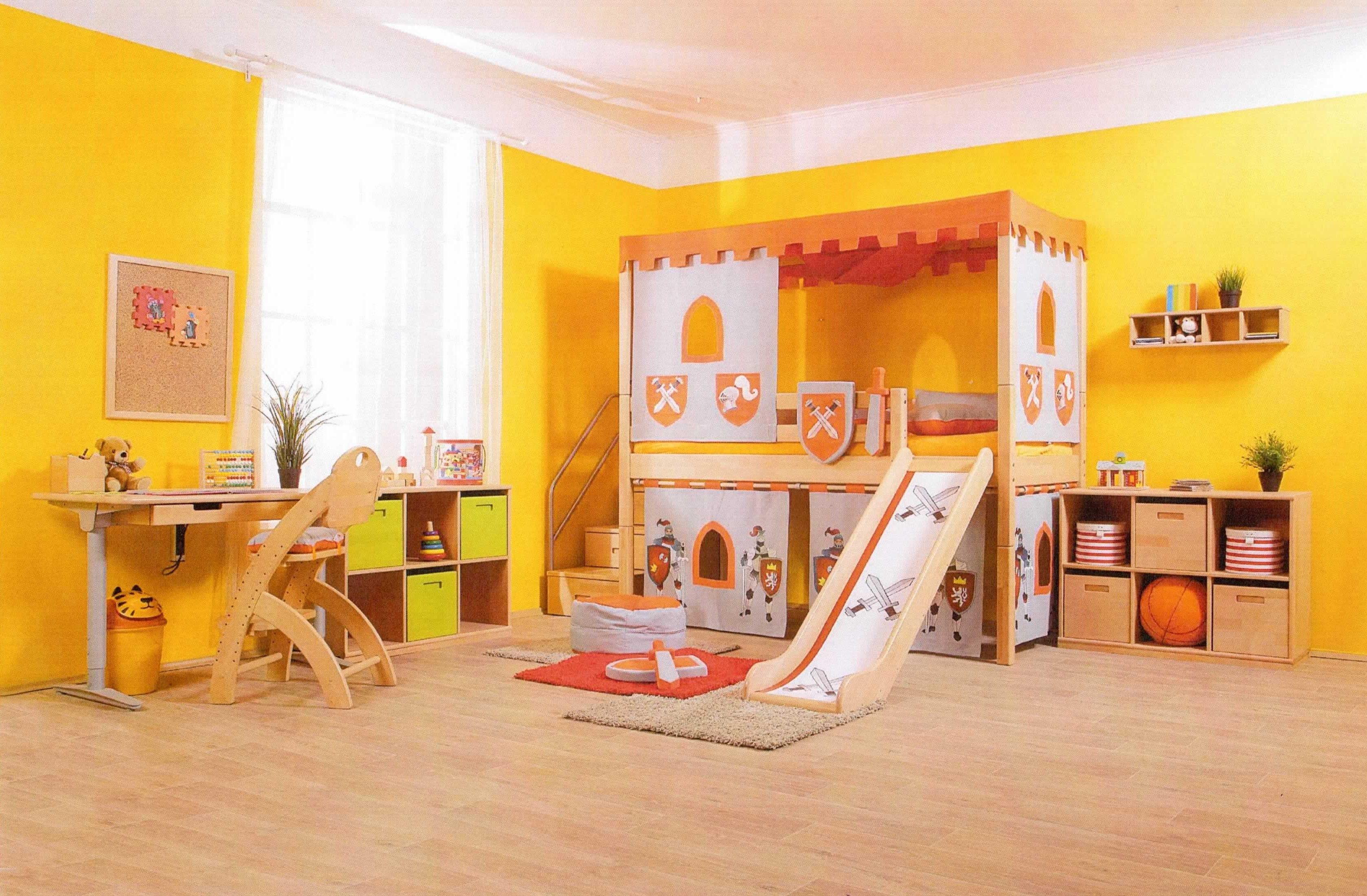 Detský nábytok DOMINO - Zvýšené jednolôžko s nadstavbou Nebesa a Textíliami HRAD.
