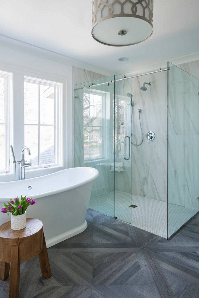 Interior Design Ideas example of dark floor, light interior shower ...
